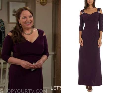 nina webster, the young and the restless, purple cold-shoulder gown, tricia cast