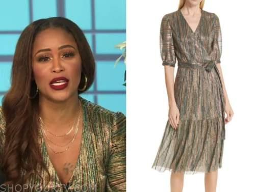 eve, the talk, gold metallic stripe wrap dress