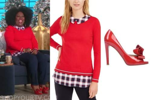 sheryl underwood, red plaid collar sweater, red bow heels, the talk