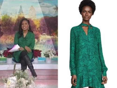 sheinelle jones, the today show, green tie neck dress