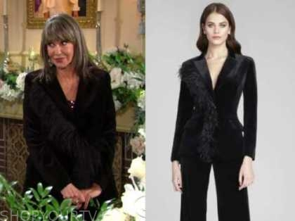 jill fenmore abbott, the young and the restless, jess walter, black feather velvet jacket