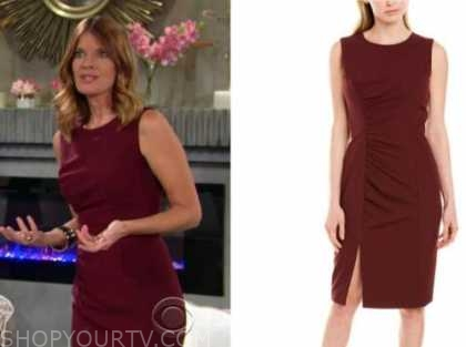 phyllis newman, michelle stafford, red sheath dress, the young and the restless