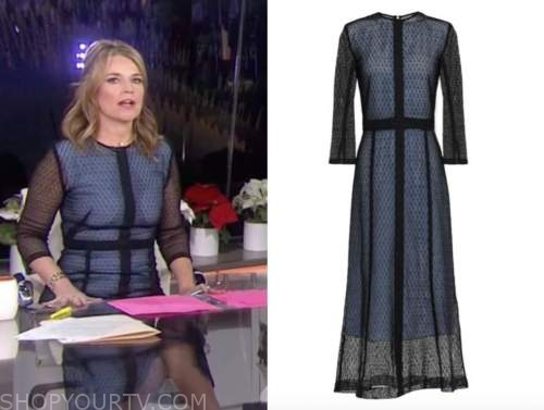 the today show, savannah guthrie, black and blue lace dress