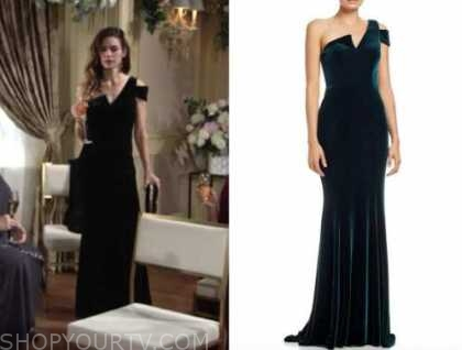 victoria newman, amelia heinle, the young and the restless, green velvet asymmetric gown