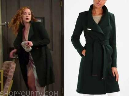 mariah copeland, camryn grimes, green coat, the young and the restless