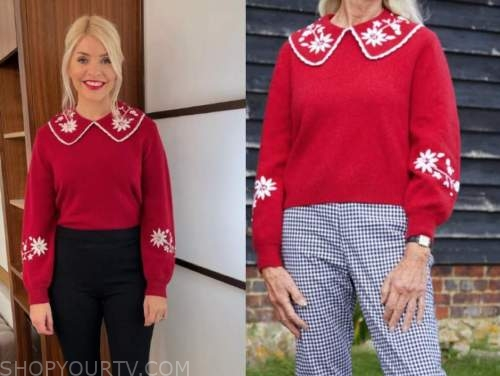 holly willoughby, red embroidered jumper, this morning