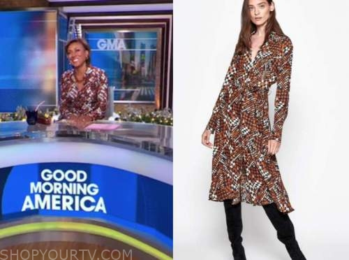 robin roberts, good morning america, orange plaid graphic silk midi shirt dress, good morning america