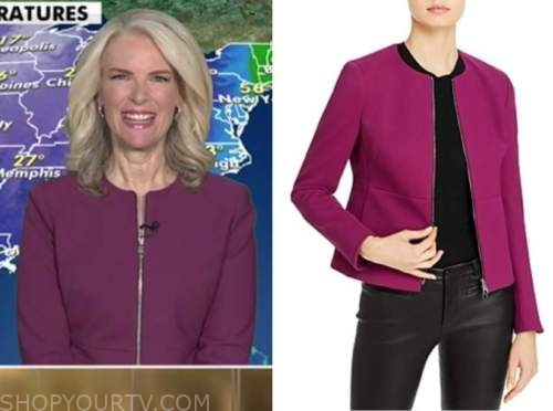 janice dean, purple zip-front jacket, fox and friends