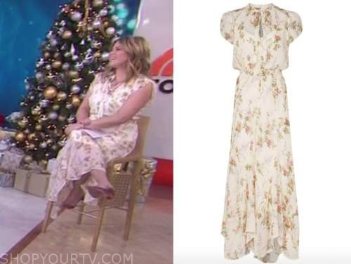 jenna bush hager, the today show, white floral tie neck maxi dress