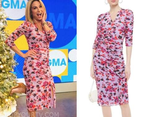 amy robach, good morning america, purple floral ruched dress