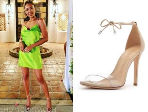 tayshia adams, gold clear bow sandals, the bachelorette