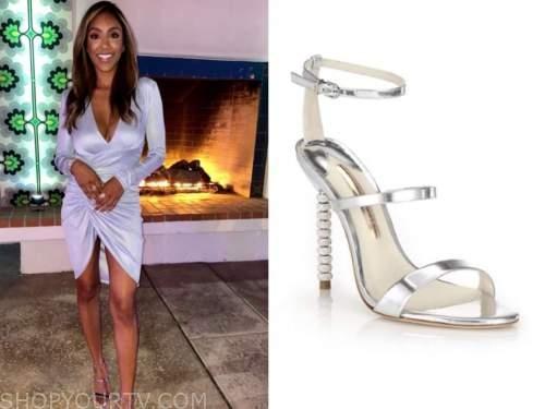 tayshia adams, the bachelorette, silver strappy sandals