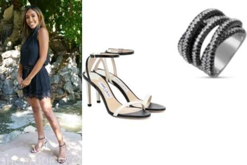 tayshia adams, the bachelorette, black and white sandals, rhinestone ring