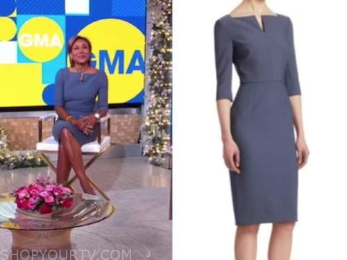 good morning america, robin roberts, blue sheath dress
