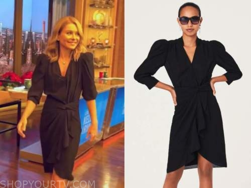 kelly ripa, black puff sleeve ruffle dress, live with kelly and ryan