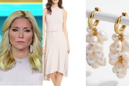 ainsley earhardt, fox and friends, blush pink knit midi dress, pearl earrings