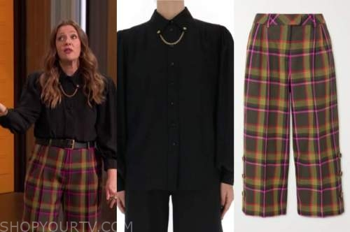 drew barrymore, drew barrymore show, black chain collar blouse, multicolor plaid pants