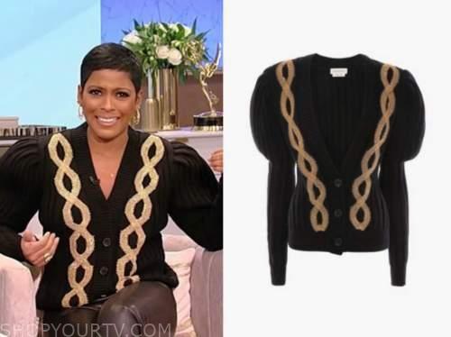 tamron hall, tamron hall show, black cable knit cardigan sweater