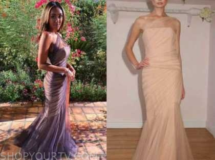 tayshia adams, the bachelorette, tulle one-shoulder gown