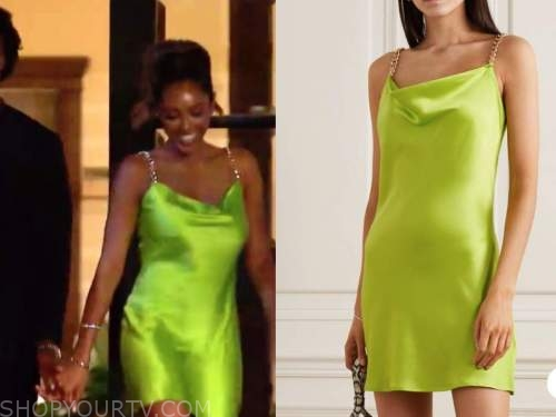 tayshia adams, the bachelorette, olive green satin chain strap dress