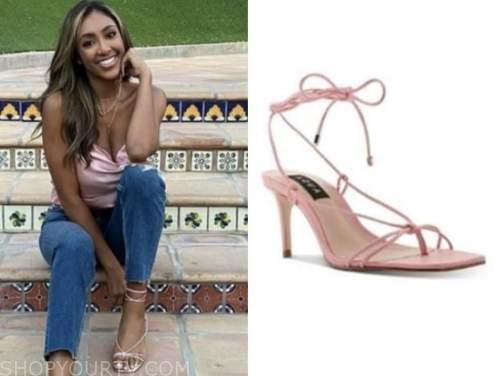 tayshia adams, the bachelorette, pink wrap sandals