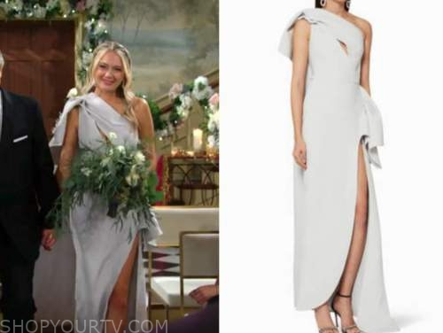 abby newman, melissa ordway, the young and the restless, one-shoulder wedding dress, gown