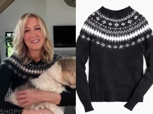 good morning america, lara spencer, black fair isle sweater