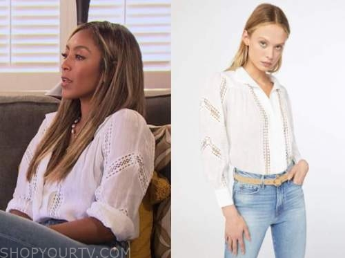 tayshia adams, the bachelorette, white lace panel shirt
