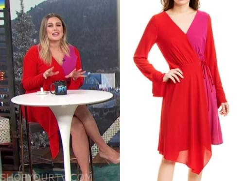carissa culiner, E! news, red and pink colorblock wrap dress