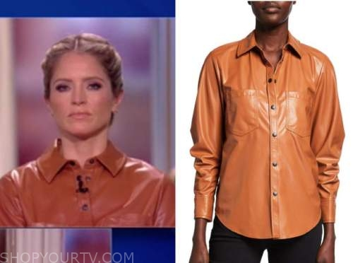 sara haines, the view, orange brown leather shirt