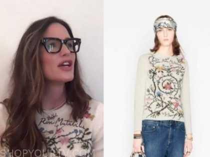 jennifer garner, the drew barrymore show, ivory floral sweater