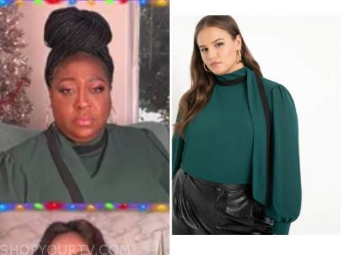 loni love, the real, green stripe blouse