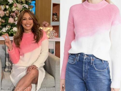 carrie ann inaba, the talk, pink tie dye sweater