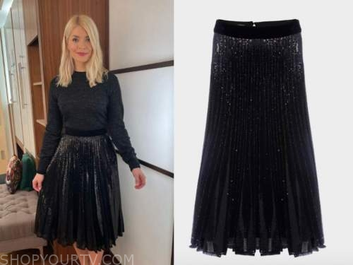 holly willoughby, this morning, black sequin skirt