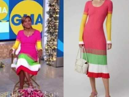 robin roberts, good morning america, pink ribbed knit colorblock midi dress