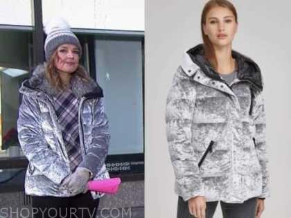 savannah guthrie, the today show, silver puffer velvet jacket