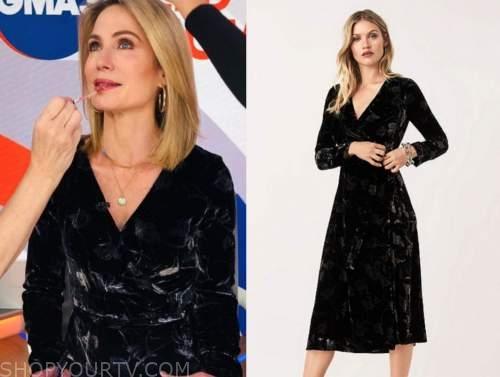 good morning america, amy robach, black floral velvet wrap dress