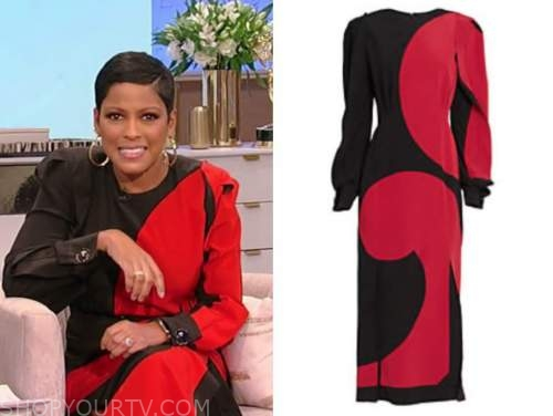 tamron hall, tamron hall show, black and red colorblock silk midi dress