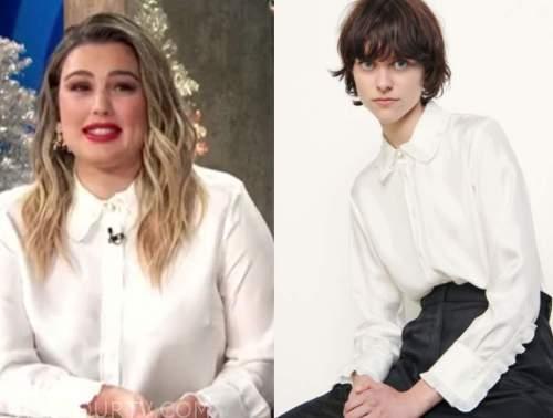 carissa culiner, e! news, white silk pleated shirt, daily pop