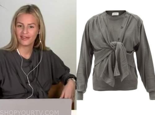 morgan stewart, grey tie sweater, e! news, daily pop