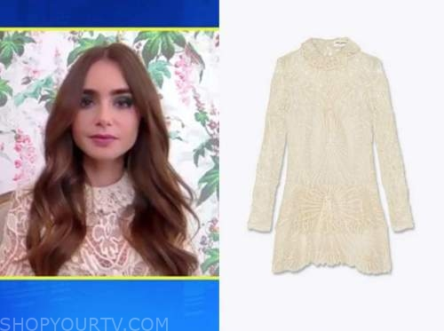 lily collins, ivory crochet lace dress, E! news, daily pop