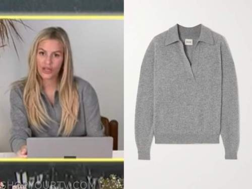 E! news, daily pop, morgan stewart, grey cashmere polo sweater