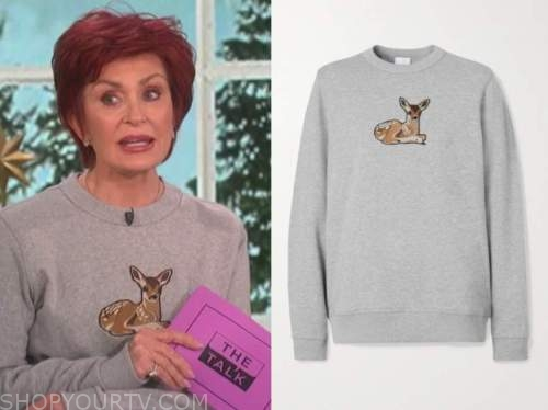 the talk, sharon osbourne, grey deer sweater
