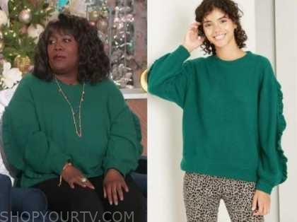 sheryl underwood, green ruffle sweater, the talk
