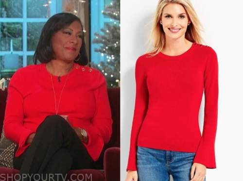 pat harvey, the talk, red bell sleeve sweater