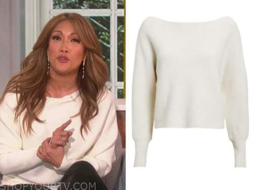 carrie ann inaba, ivory ribbed knit sweater, the talk