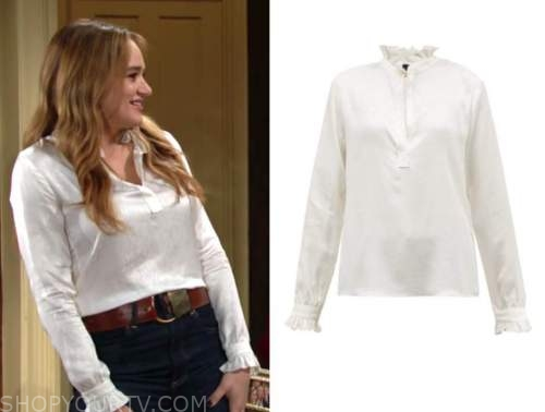 summer newman, hunter king, ivory blouse, the young and the restless