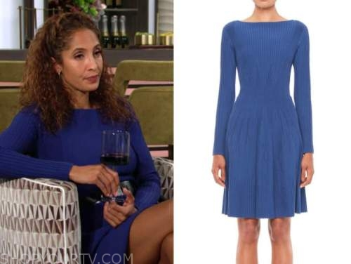 lily winters ashby, the young and the restless, blue ribbed knit dress, christel khalil