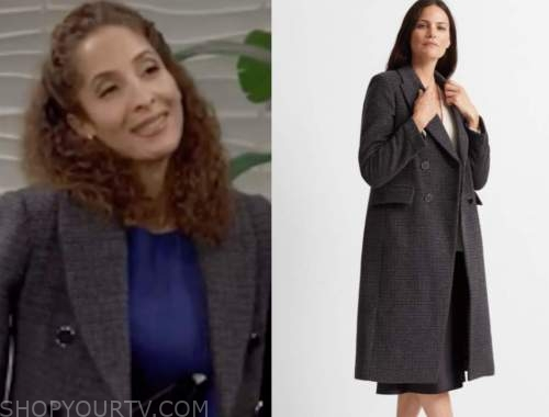 lily winters ashby, the young and the restless, grey plaid coat, christel khalil