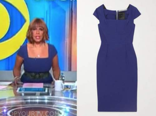 cbs this morning, blue square neck sheath dress, gayle king